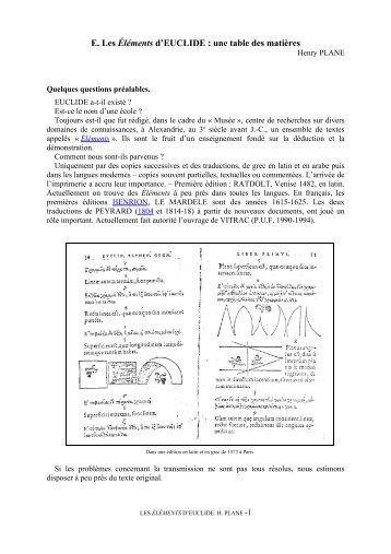 E. Les Éléments d'EUCLIDE : une table des matières - Apmep