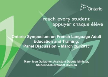 Panel Discussion – March 26, 2013 - Coalition ontarienne de ...
