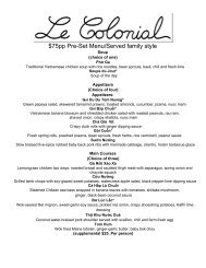 75pp PreSet Menu/Served family style - Le Colonial
