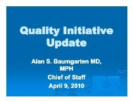 Quality Initiative Update - Mission Health