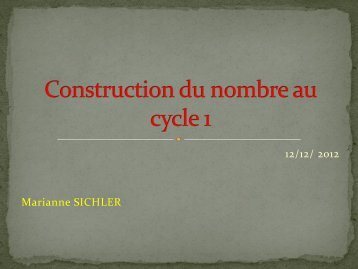 Construction du nombre au cycle 1