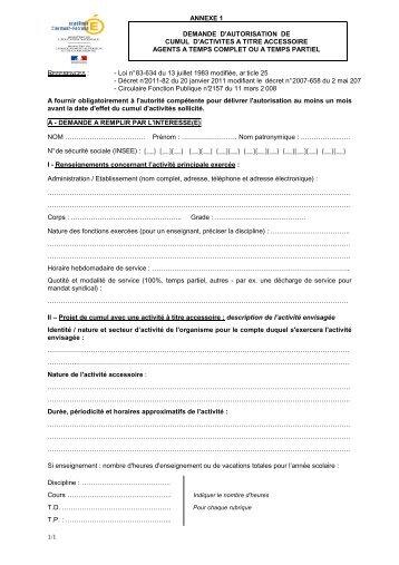 Imprimé demande d'autorisation de cumul d'activités - Académie de ...
