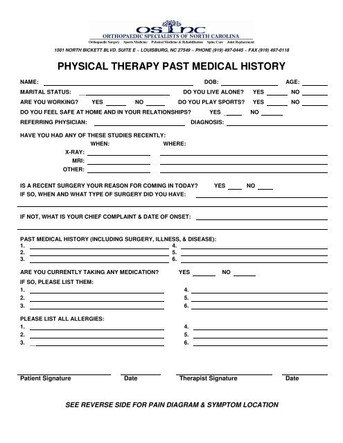 PHYSICAL THERAPY PAST MEDICAL HISTORY