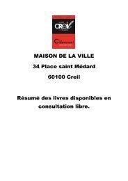 Résumé des livres disponibles au 7/dec/2011 - Ville de Creil
