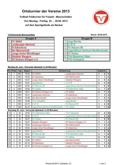 Spielplan Ergebnisse Fussball Ortsturnier Tv Unterboihingen