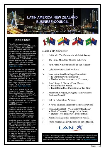 March 2013Newsletter - Latin America New Zealand Business Council