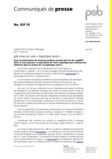 Communiqués de presse - psb GmbH