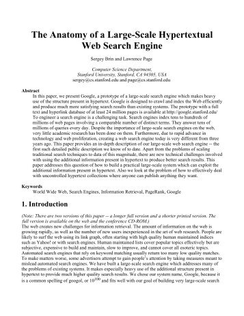 The Anatomy Of A Large Scale Hypertextual Web Search Engine