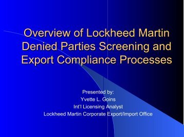 Overview of Lockheed Martin Automated Export Compliance ...
