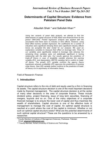 Determinants of Capital Structure: Evidence from Pakistani Panel Data