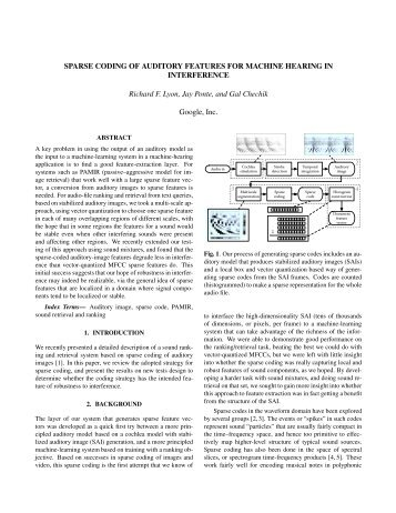 sparse coding of auditory features for machine hearing in interference