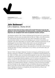John Baldessari - Aktuelle Kunst in Graz