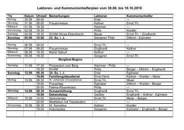 Lektoren- und Kommunionhelferplan vom 30.08. bis 10.10.2010