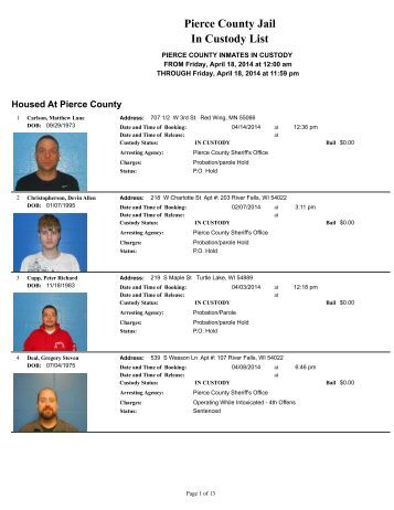 Pierce County Jail In Custody List