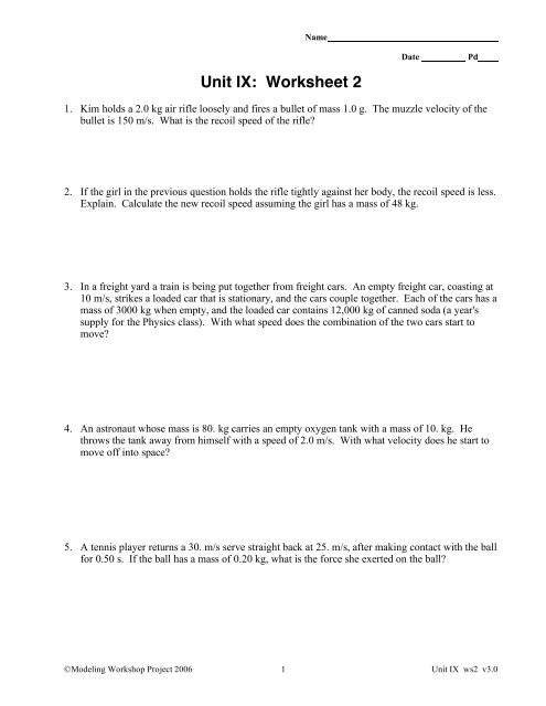 Unit IX: Worksheet 2