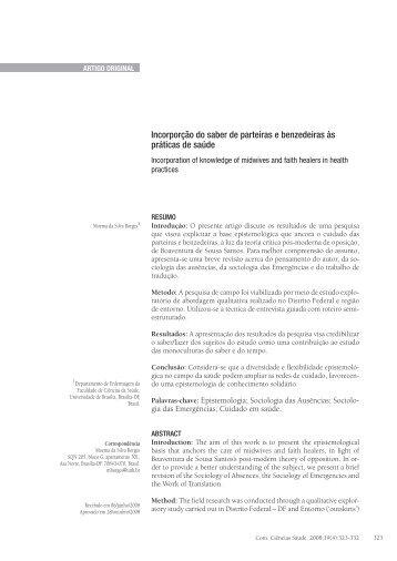 Incorporção do saber de parteiras e benzedeiras às práticas de saúde