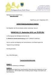 VERSTÄNDIGUNGSNACHWEIS DIENSTAG, 21 ... - Stadl-Paura
