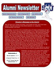 Director's Message to the Alumni - St. Thomas University