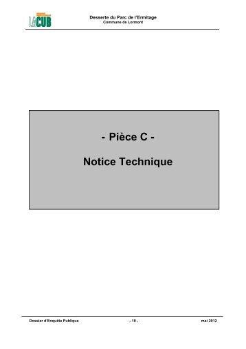 - Pièce C - Notice Technique - Participation de la CUB et de ses ...