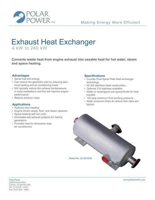 Exhaust Heat Exchanger - Polar Power Inc
