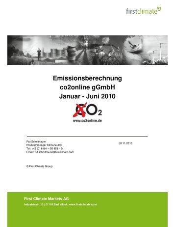 Emissionsberechnung co2online gGmbH Januar - Juni 2010