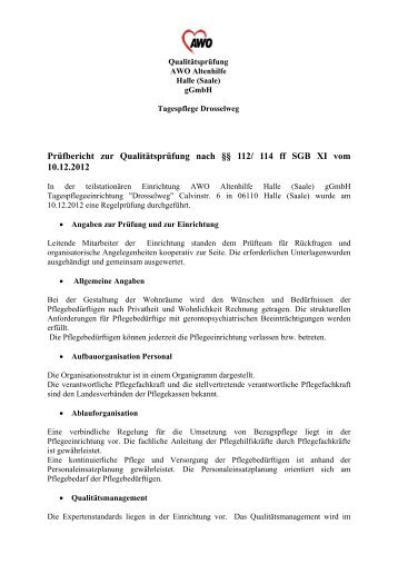 Prüfbericht TPFL Drosselweg - AWO Regionalverband Halle ...