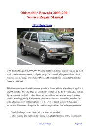 Download Oldsmobile Bravada 2000-2001 Workshop ... - Carfsm