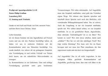 Predigt vom 26.08.2012 - ev. Kirche in Lauenburg