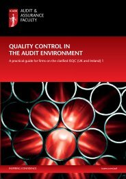 Quality control in the audit environment - ICAEW