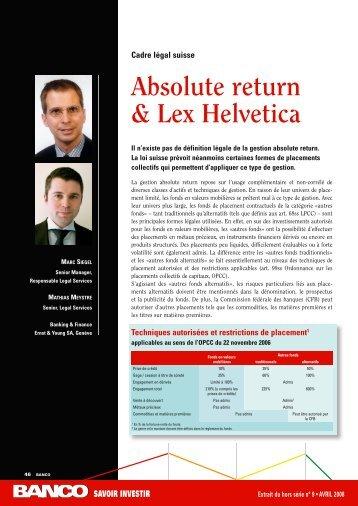 Absolute return & Lex Helvetica – Cadre légal suisse