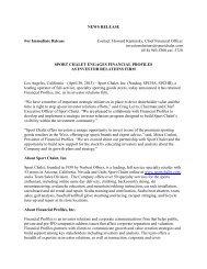 NEWS RELEASE - Sport Chalet
