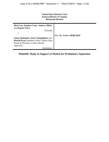 Plaintiffs' Reply in Support of Motion for Preliminary Injunction