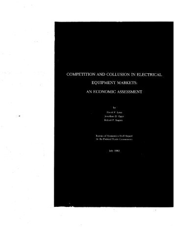 Competition and Collusion in Electrical Equipment Markets: An ...