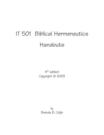 IT 501 Biblical Hermeneutics - Ashland University