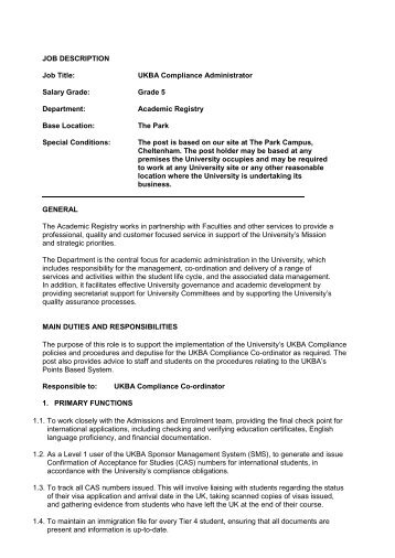 JOB DESCRIPTION Job Title: UKBA Compliance Administrator ...