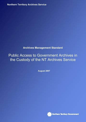 Public Access to Government Archives in the Custody of the NT ...