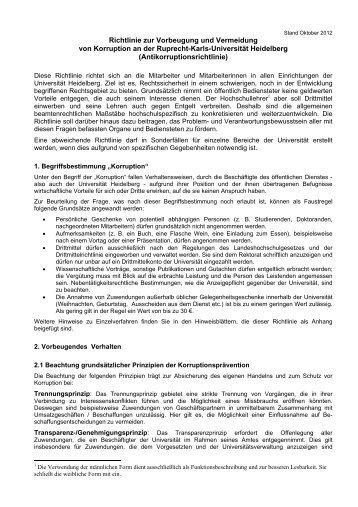 Richtlinie zur Vorbeugung und Vermeidung von Korruption an der ...