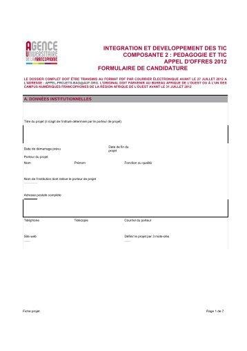 Intégration et développement des TIC - Formulaire de candidature