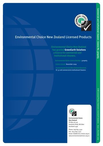 Environmental Choice New Zealand Licensed Products
