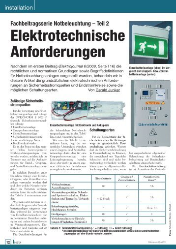 Elektrotechnische Anforderungen - Notbeleuchtung