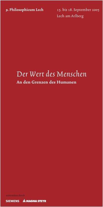 Der Wert des Menschen - Philosophicum Lech