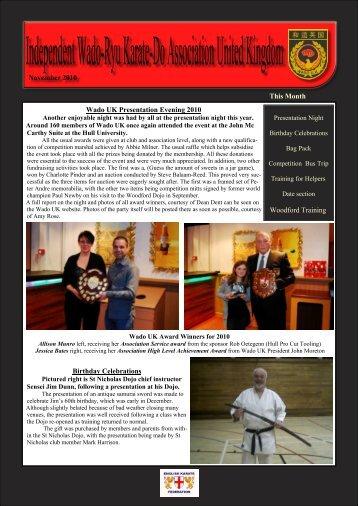 the December Newsletter - Wado UK