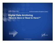 "DIGITAL DATA ARCHIVING: ""Nice to Have or Need"