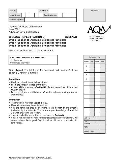 GCE June 2002 Question Paper Biology B - Unit 6/7/8