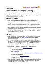 Checklist: End of Studies- Staying in Germany - Studentenwerk Berlin