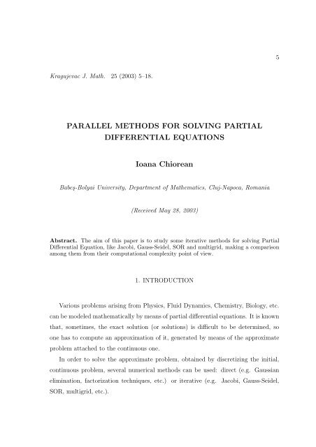 Parallel methods for solving partial differential equations