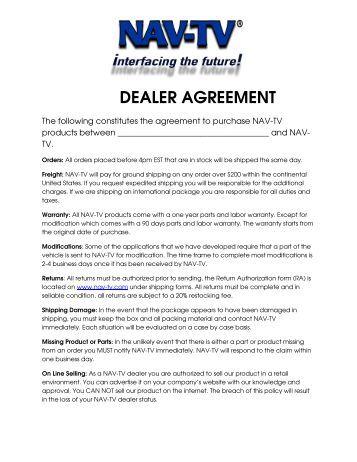 nav tv corp authorized dealer agreement