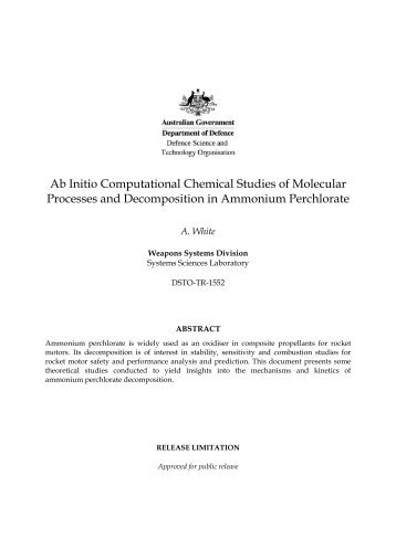 Ab Initio Computational Chemical Studies of Molecular Processes ...