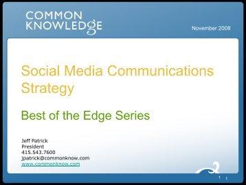 Social Media Landscape - Common Knowledge