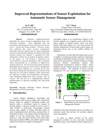 Improved Representations of Sensor Exploitation for Automatic ... - ISIF